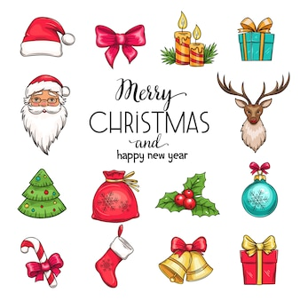 Установить рождественские рисованной иконки