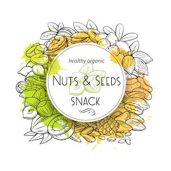 手描きのナッツと種子