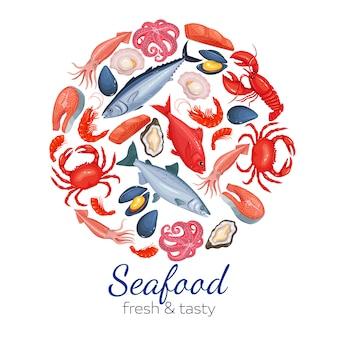 Круглый шаблон страницы с морепродуктами