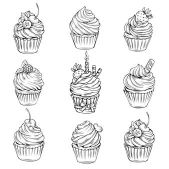 手描きのカップケーキ