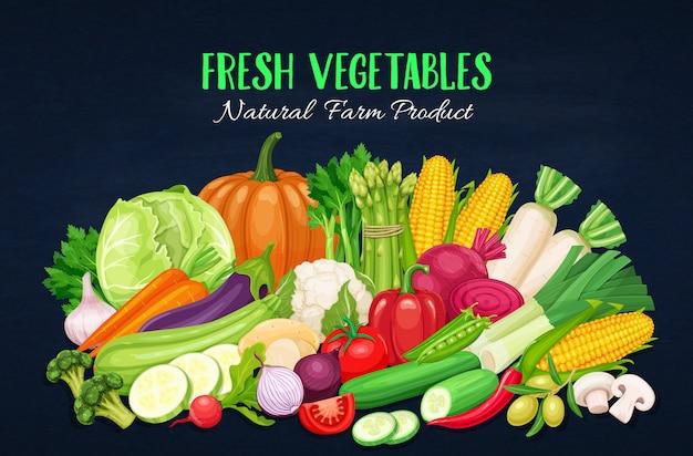 野菜とカラフルな有機バナー。