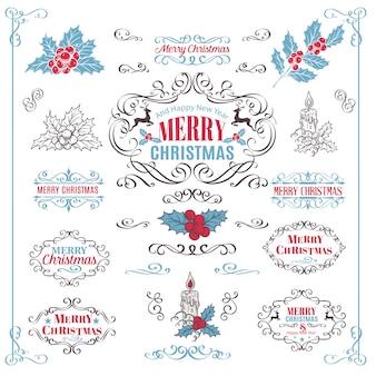 Рождественские каллиграфические элементы ретро
