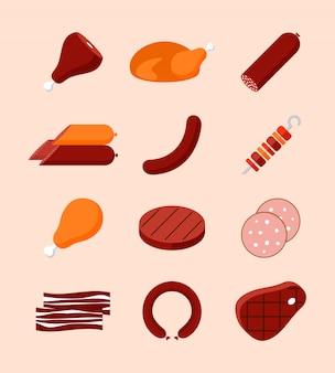 Коллекция мясных продуктов. колбаски, ветчина, индейка, котлета, стейк.