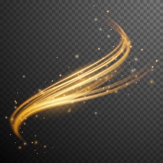 ゴールドのグリッターウェーブ。きらめくスターダスト。透明な光の効果。図