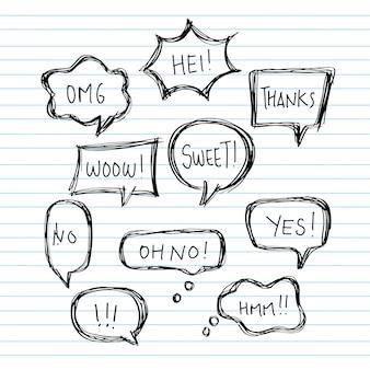 Рука нарисовать воздушный шар речи пузыри с короткими сообщениями