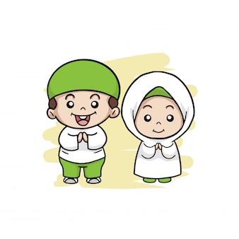 幸せなカップルのイスラム教徒の子供たち