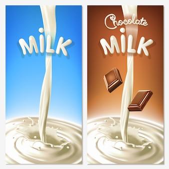 Реалистичный всплеск стекающего молока или какао с кусочками шоколада