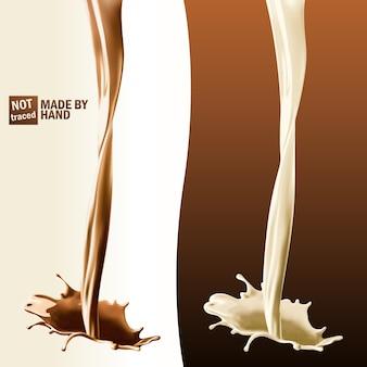 Реалистичный всплеск наливания молока и шоколада. отдельные элементы дизайна.