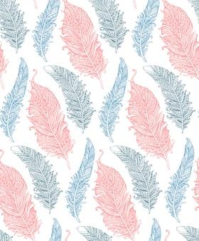 手で美しいシームレスパターンには、柔らかな色で様式化された羽が描かれています。