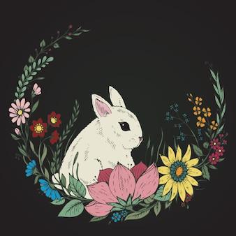 Симпатичные рисованной кролик с венком из цветов и листьев