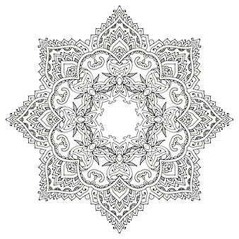 Мандала с рисованной цветочными элементами хны.