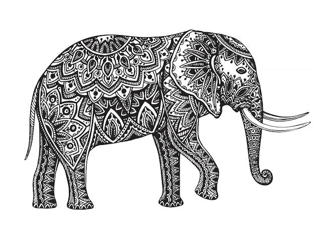 Стилизованный фантазийный узорчатый слон. ручной обращается иллюстрации с цветочными элементами.