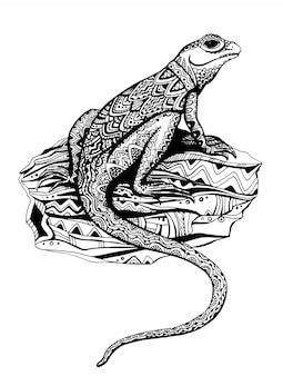 黒と白のグラフィックスタイルのエスニックパターンを持つ華やかなトカゲ
