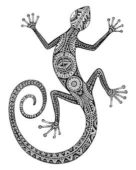 手描きのトカゲや部族のパターンを持つサラマンダー