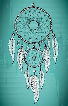 グランジの緑の背景に装飾的な羽を持つ手描きドリームキャッチャー。