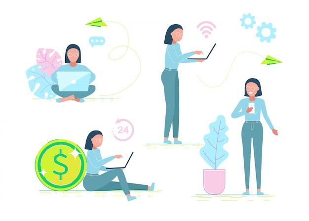 Набор офисных работников персонажей. плоский дизайн корпоративных деловых людей. полная длина. разные позы и ситуации. иллюстрация