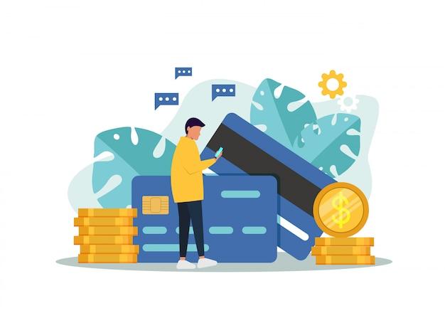 ビジネスマンのクレジットカード。オンラインの概念図を支払う