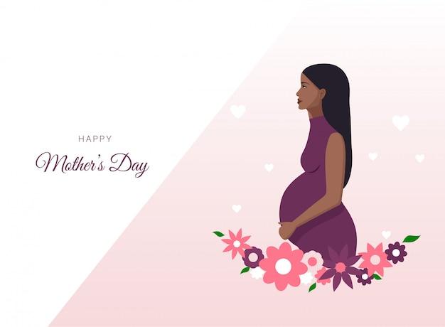 母の日おめでとう。妊娠中のアフリカ系アメリカ人女性のイラスト。バナーやウェブサイトに最適
