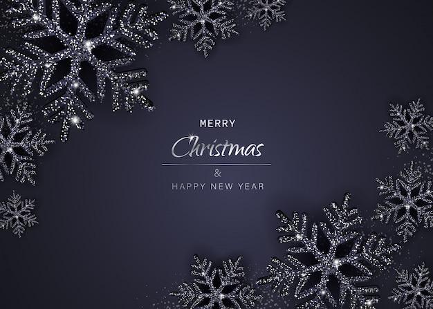 輝く黒い雪とエレガントなクリスマスの背景。図