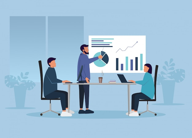 Бизнес-концепция люди в офисе решают рабочие вопросы.