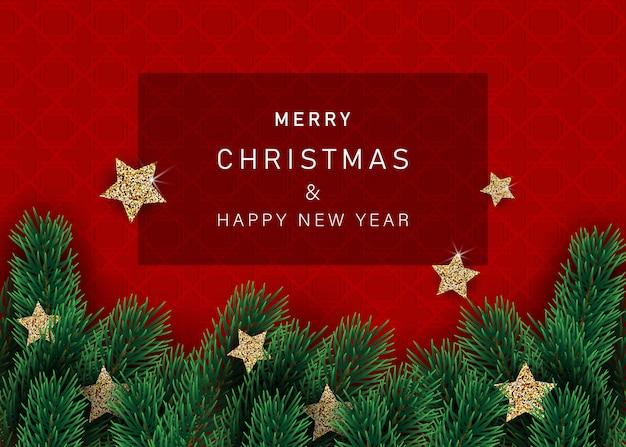 Новогодний фон с украшенные звездами со снежинками. с рамками снега на красном фоне.