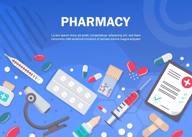 薬局の背景、薬局のデザイン、薬局のテンプレート。薬、薬局、病院のラベル付きの薬のセット。薬、薬学のコンセプトです。別の医療。