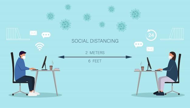 ウイルスの拡散やインフルエンザの予防、コロナウイルスの概念を防ぐための社会的距離。ラップトップコンピューターで作業する男女、オンライン作業を維持