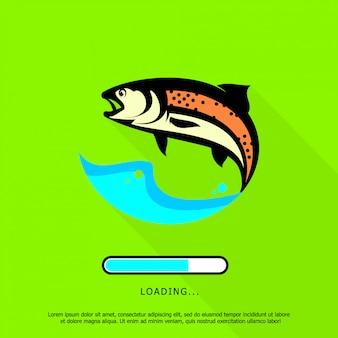 魚のイラストとウェブページの読み込み