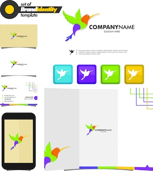 ブランディング鳥のロゴのテンプレートカラフル