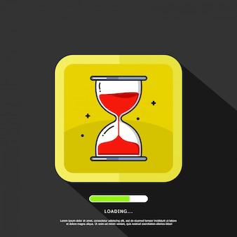 テキストテンプレートの読み込みと砂時計のイラスト要素