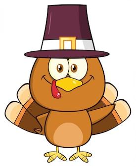 かわいい巡礼者トルコの鳥の漫画のキャラクターが波打つ。