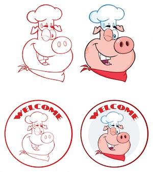 シェフ豚顔漫画マスコットキャラクターサークルバナーデザイン。