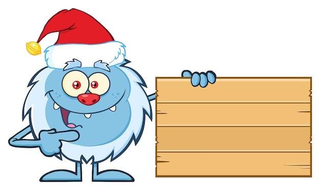 イエティ漫画のキャラクターは、木製のブランクサインを指して