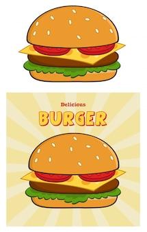 おいしいバーガーのデザインカードとテキスト