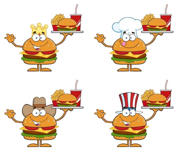 ハンバーガーのキャラクターの漫画のイラスト