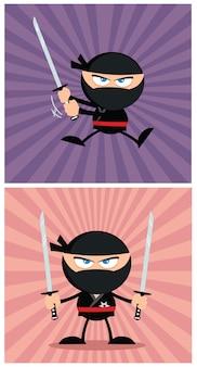 モダンフラットデザインの忍者の戦士の漫画のキャラクター