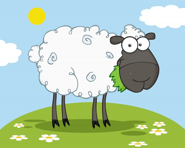 丘の上で草を食べる黒い羊のキャラクター