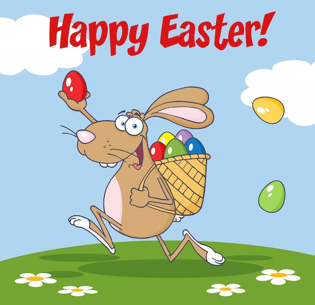 バスケットと卵で走っている茶色のイースターウサギ