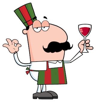 ワインとガラスを保持しているシェフの漫画のキャラクター。分離したベクトル図
