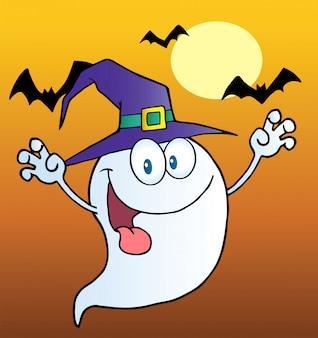 Призрачный призрак, надевающий шляпу ведьмы над летучими мышами на оранжевом