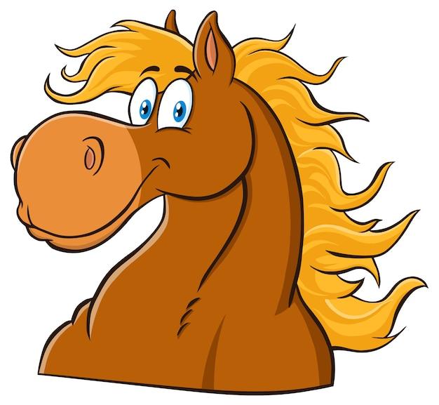 馬の頭の漫画のマスコットキャラクター。白で隔離される図