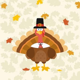 感謝祭トルコの鳥が幸せな感謝祭のテキストの下で巡礼者の帽子を身に着けている