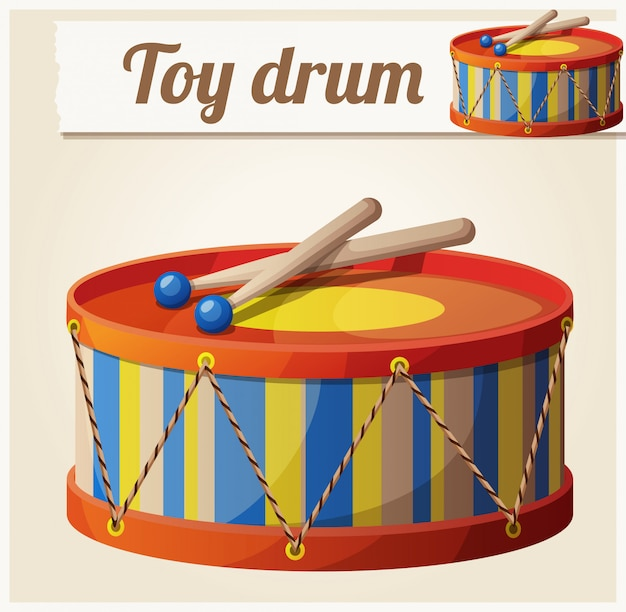 ヴィンテージのおもちゃのドラム。漫画のベクトル図