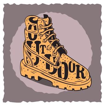 Зимние мужские ботинки тематические винтажные влияние типографский дизайн плаката этикетки.