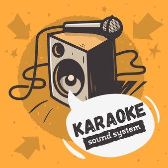 Музыкальный дизайн караоке-системы с динамиком и микрофоном