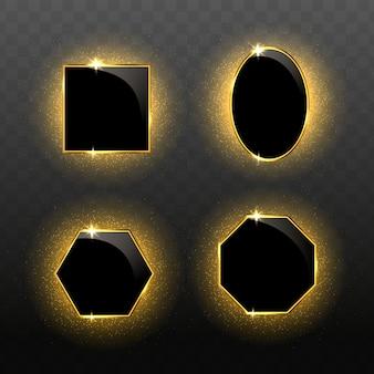 Реалистичные геометрические золотые рамки со световыми эффектами