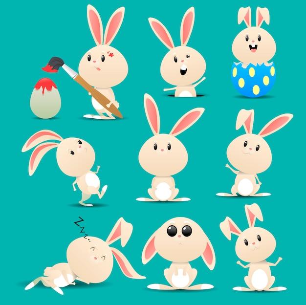 Мультяшный кролик с разной позой и выражением