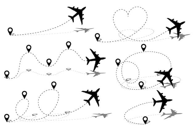 Маршрут маршрута самолета с начальной точкой и трассой штриховой линии.