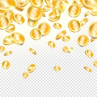 Реалистичные золотые монеты падают. денежное вознаграждение - джекпот