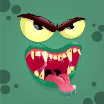 怒った顔の緑のモンスターアバター